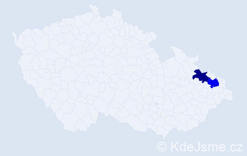 Příjmení: 'Kobová', počet výskytů 3 v celé ČR
