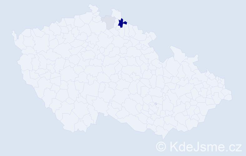 Příjmení: 'Bonnanová', počet výskytů 6 v celé ČR