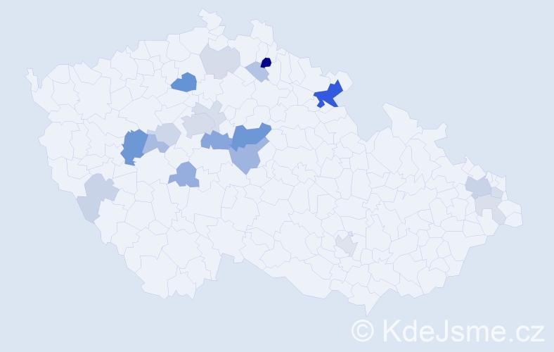 Příjmení: 'Fetter', počet výskytů 54 v celé ČR