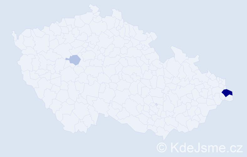 Příjmení: 'Janczová', počet výskytů 9 v celé ČR