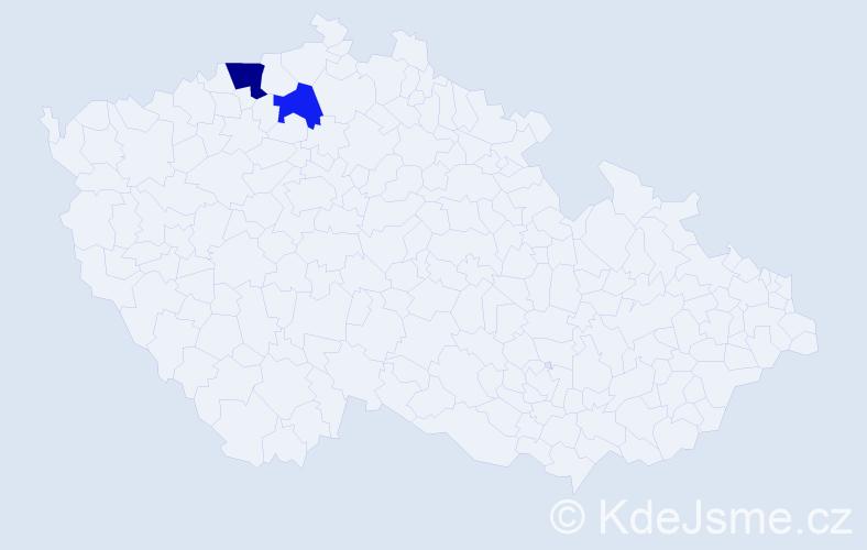 Příjmení: 'Gelov', počet výskytů 3 v celé ČR