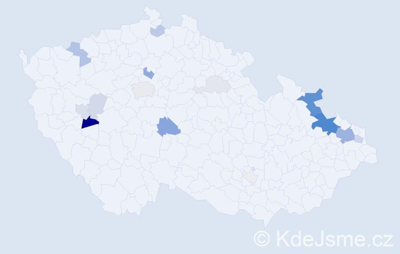 Příjmení: 'Láryšová', počet výskytů 54 v celé ČR