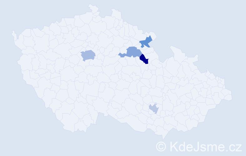 Příjmení: 'Gaberle', počet výskytů 8 v celé ČR