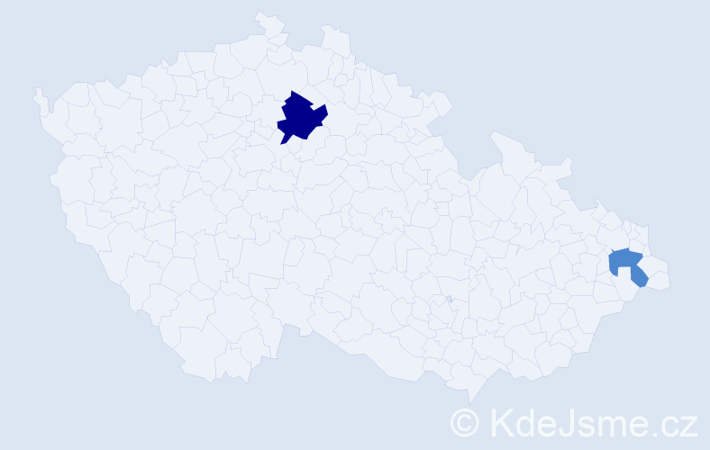 Příjmení: 'Gulden', počet výskytů 3 v celé ČR