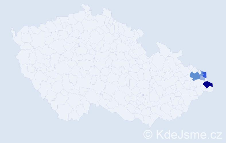 Příjmení: 'Bora', počet výskytů 15 v celé ČR