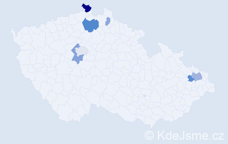 Příjmení: 'Havara', počet výskytů 15 v celé ČR