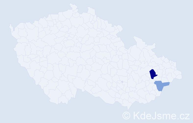 Příjmení: 'Jestřebská', počet výskytů 3 v celé ČR