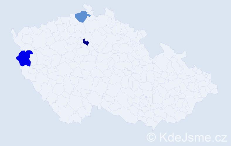 Příjmení: 'Láder', počet výskytů 3 v celé ČR
