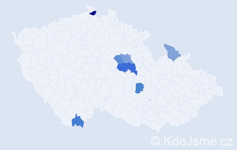Příjmení: 'Bondor', počet výskytů 25 v celé ČR