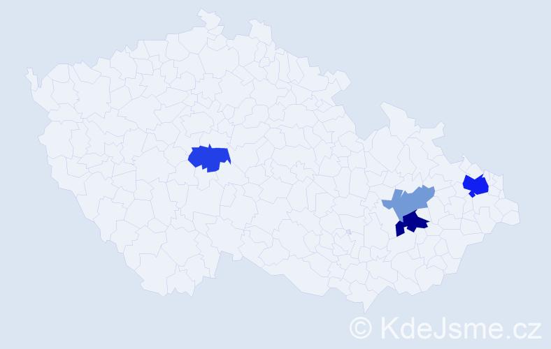 Příjmení: 'Cabiš', počet výskytů 8 v celé ČR