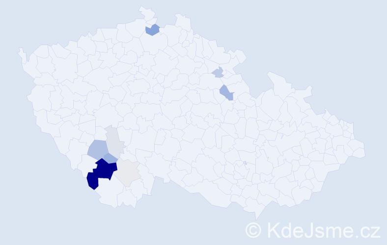 Příjmení: 'Čužnová', počet výskytů 29 v celé ČR