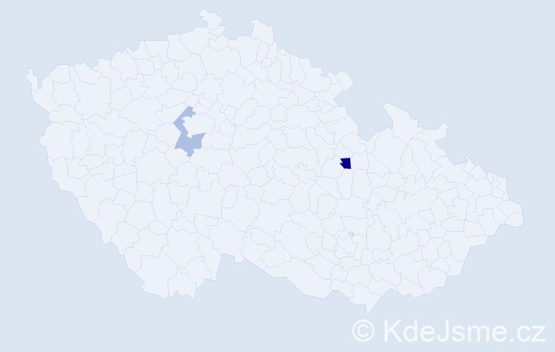 Příjmení: 'Bindics', počet výskytů 5 v celé ČR