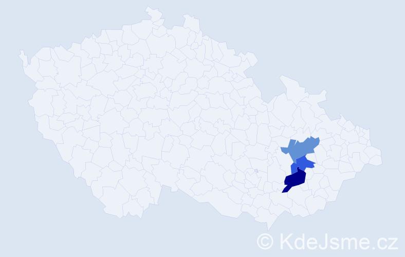 Příjmení: 'Houban', počet výskytů 7 v celé ČR