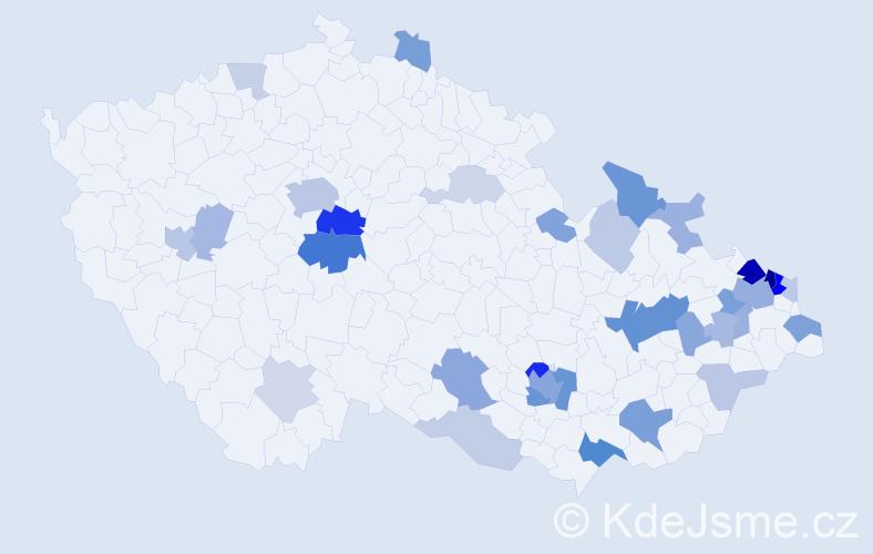 Příjmení: 'Jordan', počet výskytů 86 v celé ČR