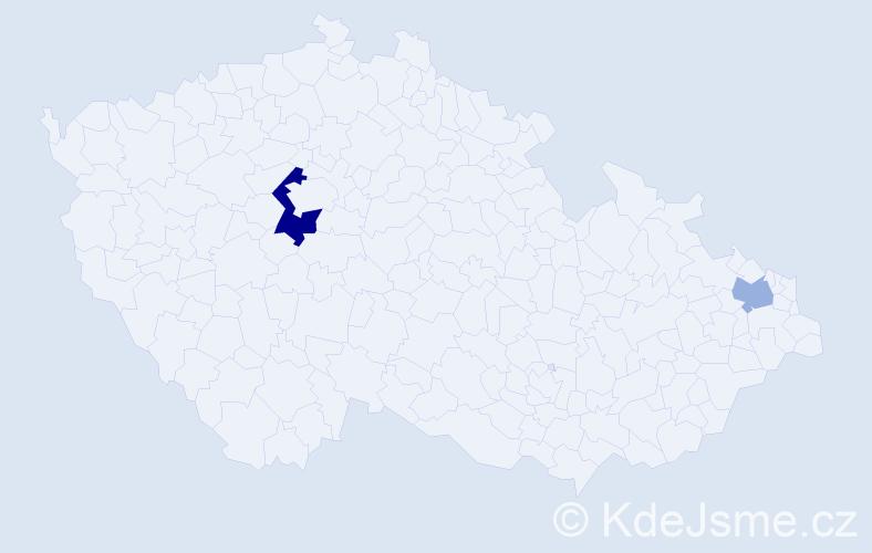 Příjmení: 'Ihlová', počet výskytů 7 v celé ČR