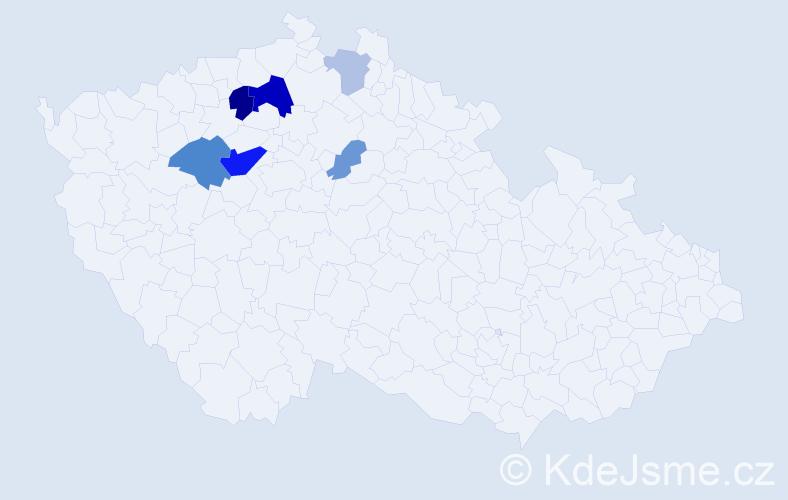Příjmení: 'Hercl', počet výskytů 15 v celé ČR