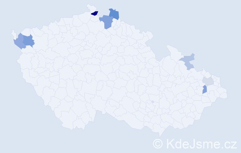 Příjmení: 'Čapuchová', počet výskytů 22 v celé ČR
