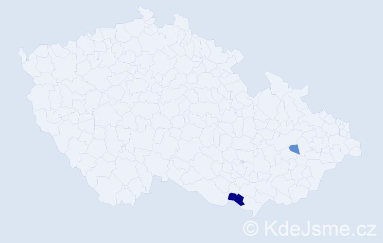 Příjmení: 'Gricman', počet výskytů 8 v celé ČR