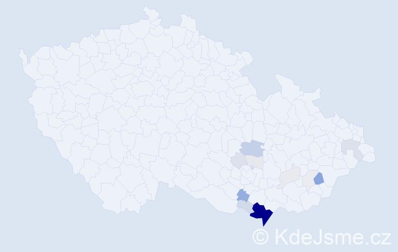 Příjmení: 'Fabičovic', počet výskytů 67 v celé ČR