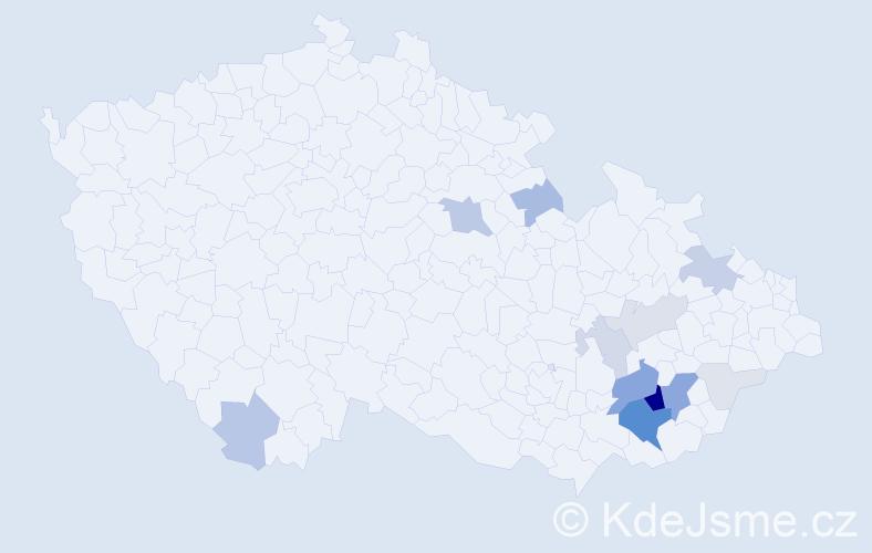 Příjmení: 'Čevorová', počet výskytů 57 v celé ČR
