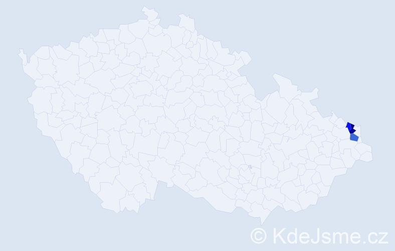 Příjmení: 'Cabak', počet výskytů 5 v celé ČR