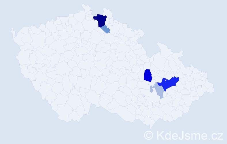 Příjmení: 'Čubrdová', počet výskytů 22 v celé ČR
