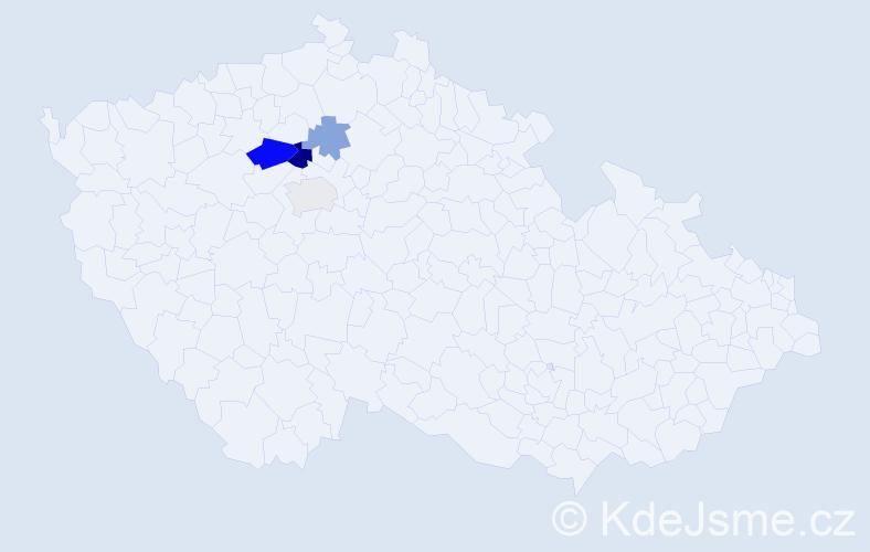 Příjmení: 'Ekhard', počet výskytů 8 v celé ČR