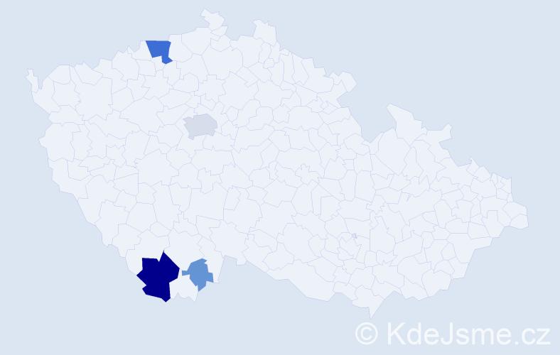 Příjmení: 'Bieblová', počet výskytů 19 v celé ČR