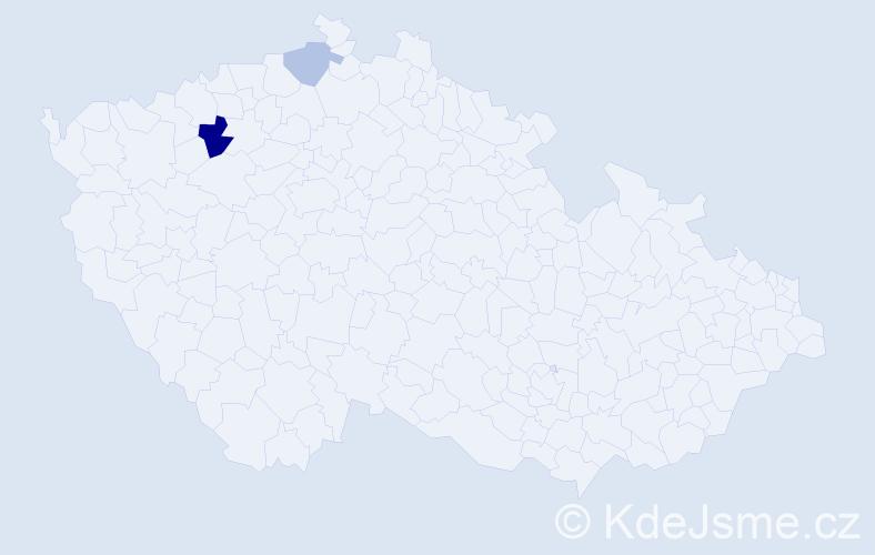 Příjmení: 'Čákvári', počet výskytů 4 v celé ČR