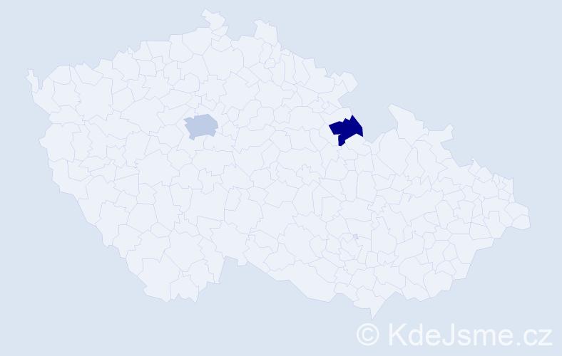Příjmení: 'Láb', počet výskytů 6 v celé ČR