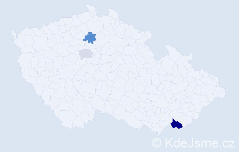 Příjmení: 'East', počet výskytů 5 v celé ČR