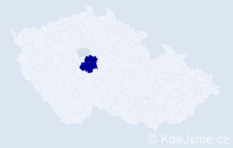 Příjmení: 'Bychlová', počet výskytů 8 v celé ČR