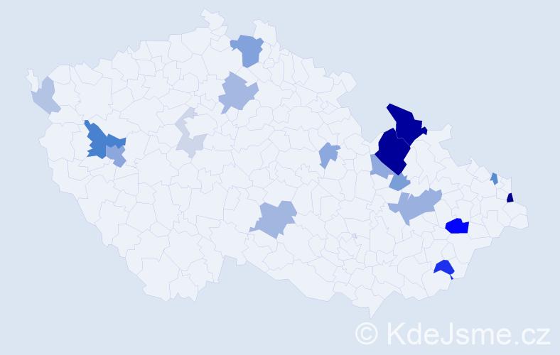 Příjmení: 'Heckel', počet výskytů 53 v celé ČR