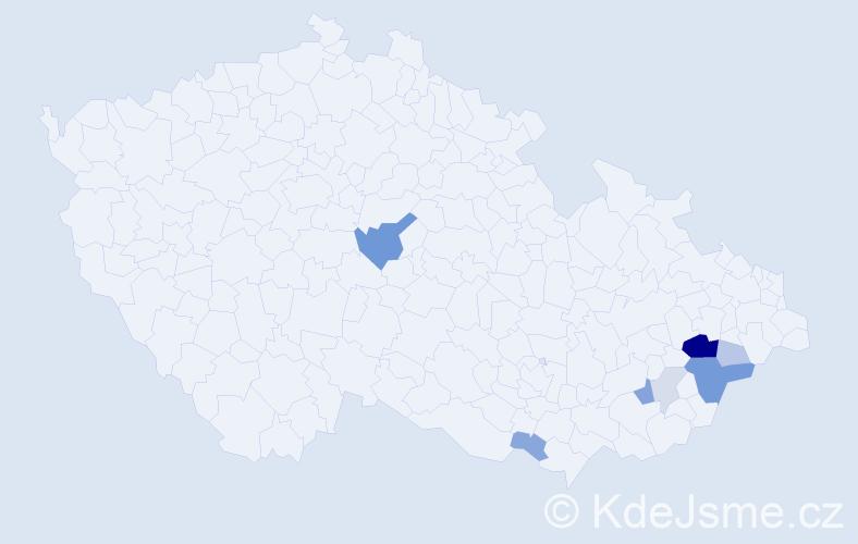 Příjmení: 'Kalčáková', počet výskytů 24 v celé ČR