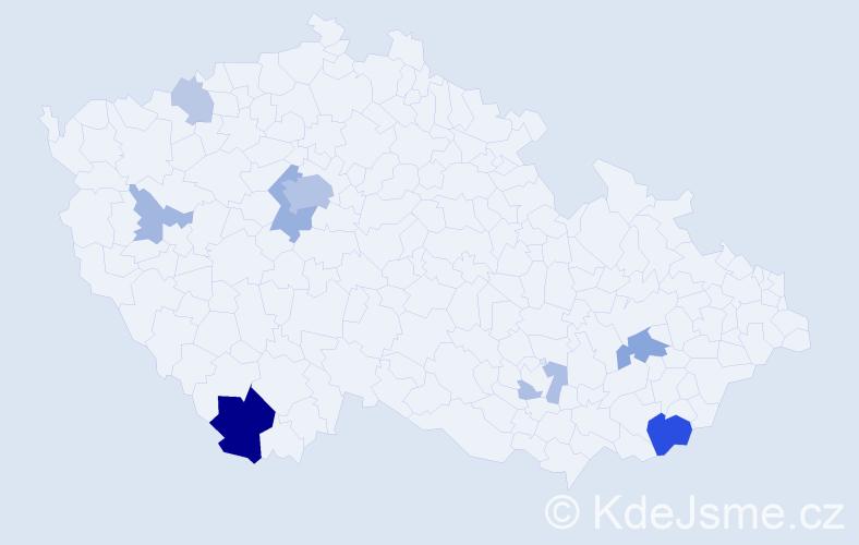 Příjmení: 'Assmannová', počet výskytů 26 v celé ČR