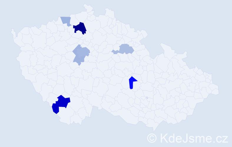 Příjmení: 'Degenová', počet výskytů 17 v celé ČR