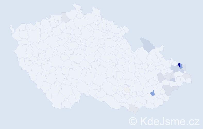 Příjmení: 'Ježíšková', počet výskytů 60 v celé ČR