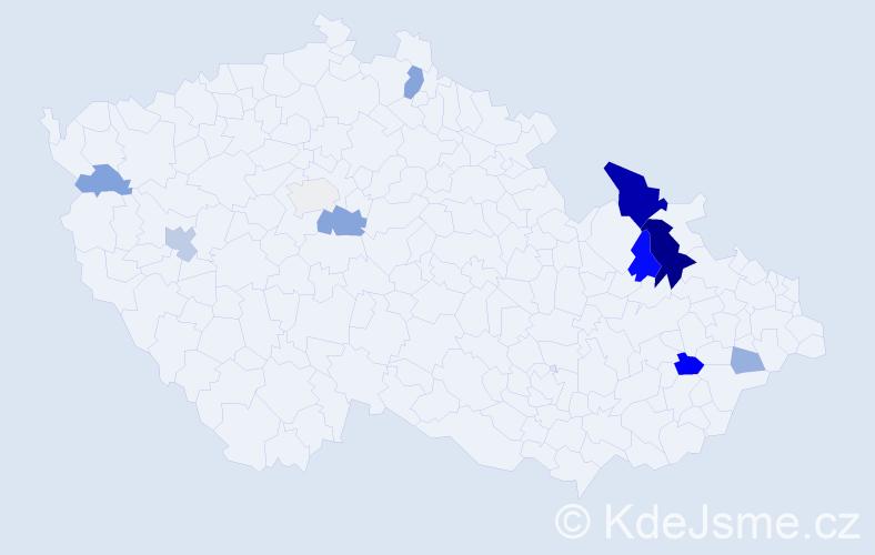 Příjmení: 'Ilnický', počet výskytů 25 v celé ČR
