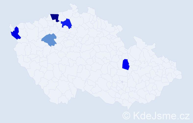 Příjmení: 'Býna', počet výskytů 10 v celé ČR