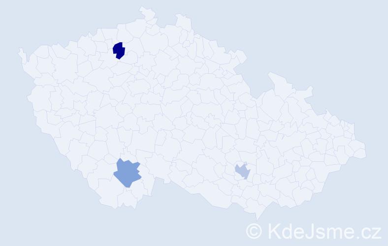 Příjmení: 'Aga', počet výskytů 3 v celé ČR