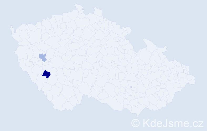 Příjmení: 'Khín', počet výskytů 8 v celé ČR