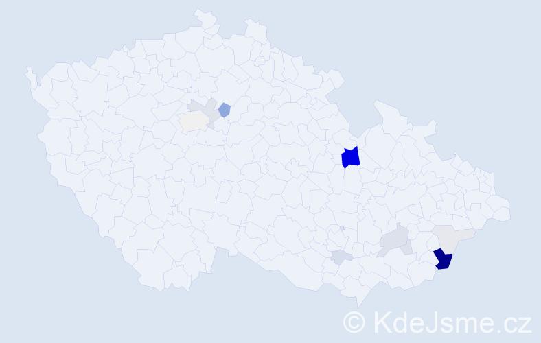 Příjmení: 'Hrubčík', počet výskytů 41 v celé ČR