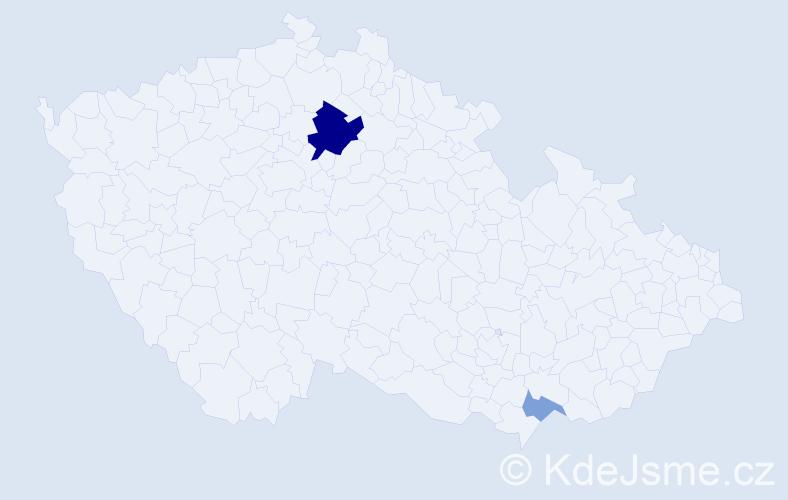 Příjmení: 'Janžo', počet výskytů 6 v celé ČR