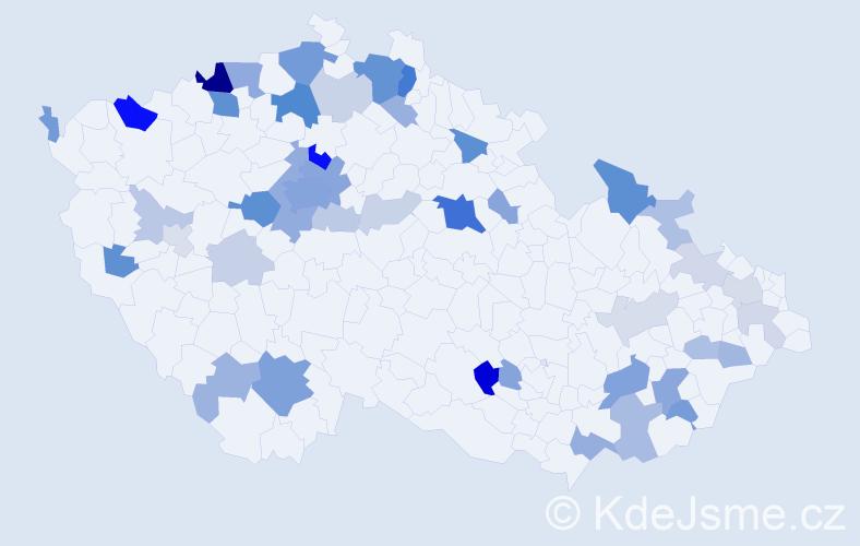 Příjmení: 'Gürtlerová', počet výskytů 136 v celé ČR
