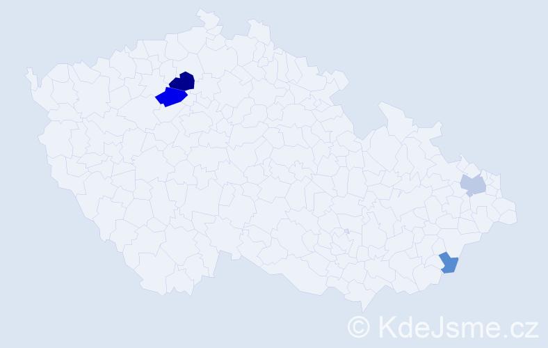 Příjmení: 'Čislikovská', počet výskytů 9 v celé ČR