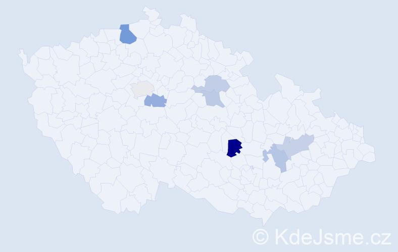 Příjmení: 'Laníček', počet výskytů 11 v celé ČR
