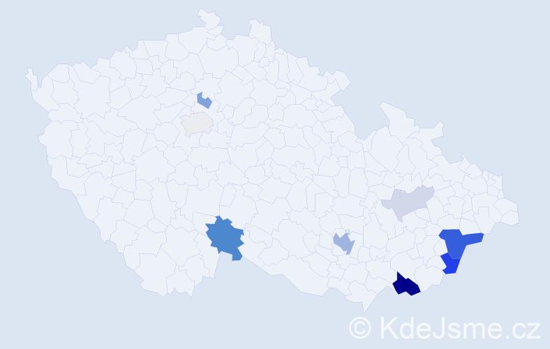 Příjmení: 'Krcháková', počet výskytů 23 v celé ČR
