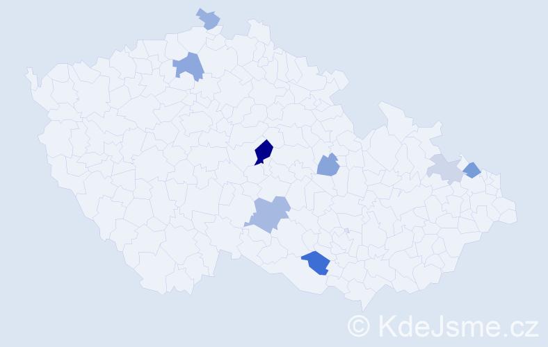 Příjmení: 'Jackovič', počet výskytů 15 v celé ČR