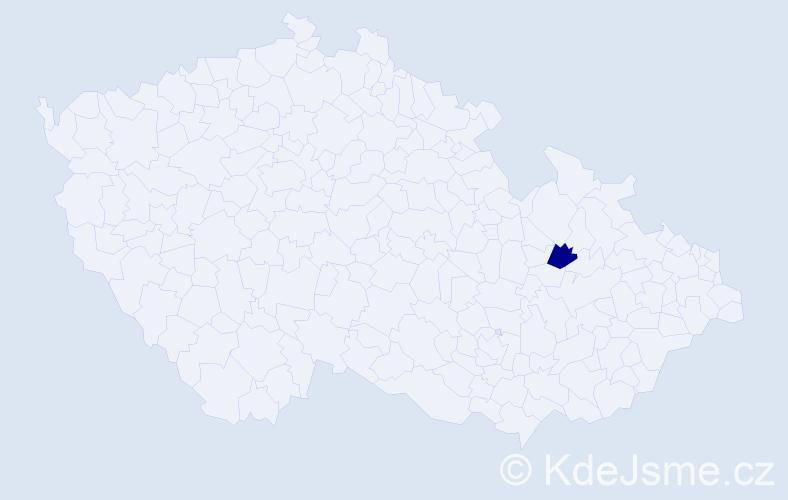 """Příjmení: '""""Eilewa Sovová""""', počet výskytů 1 v celé ČR"""