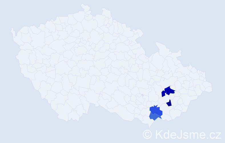 Příjmení: 'Jozefek', počet výskytů 5 v celé ČR
